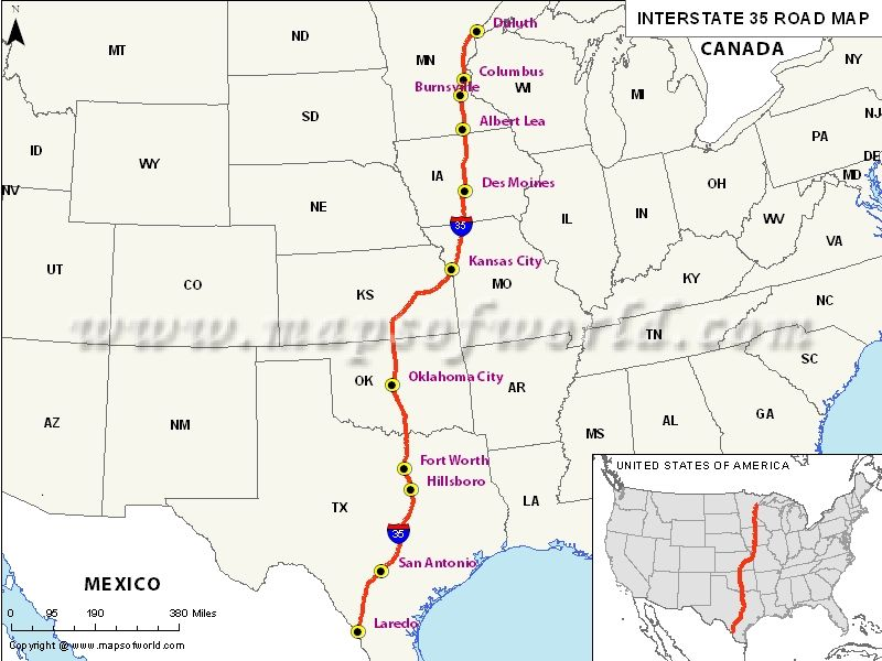 Interstate Map Usa Texas Oklahoma Kansas Missouri Iowa