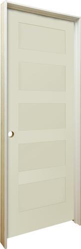 Mastercraft 36 X 80 Primed Flat 5 Equal Panel Stile And Rail Flat Prehung Interior Door