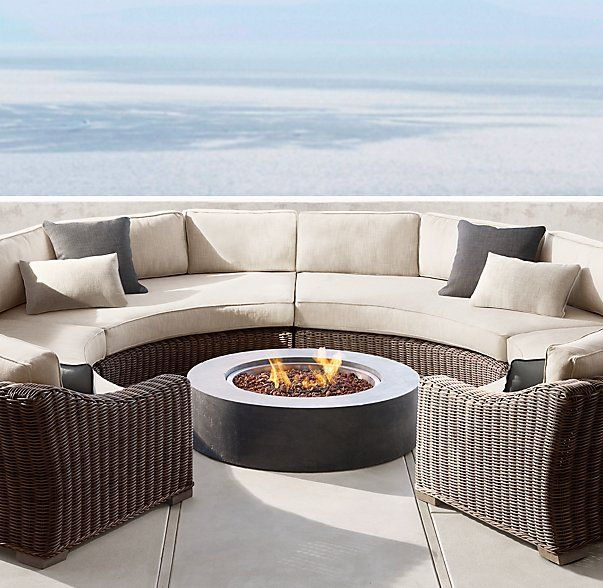 Provence Luxe Round Customizable Sectional Outdoor Sofa Fire Pit Seating Outdoor Furniture Sets