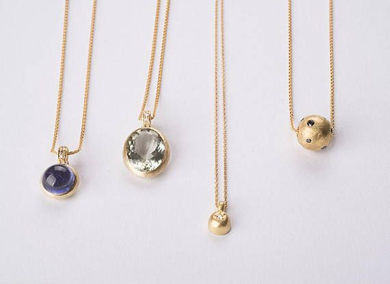 18k gold pendant necklace, Small minimal gold ball pendant necklace ... 8d5b0898d6