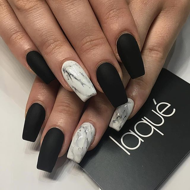 Image Result For Matte Black Acrylic Nails Medium Marble Accent Coffin Shaped