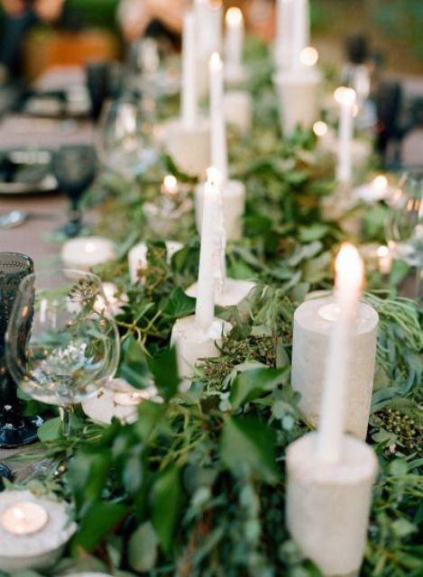 Stunning Greenery Wedding Table Runners 38