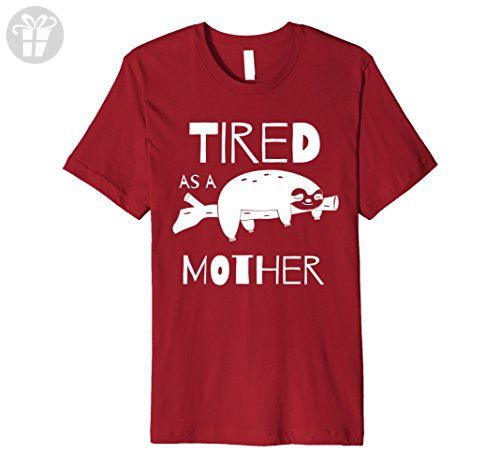 Mens Tired as a Mother T-Shirt With Funny Sleeping Sloth 3XL Cranberry - Funny shirts (*Amazon Partner-Link)