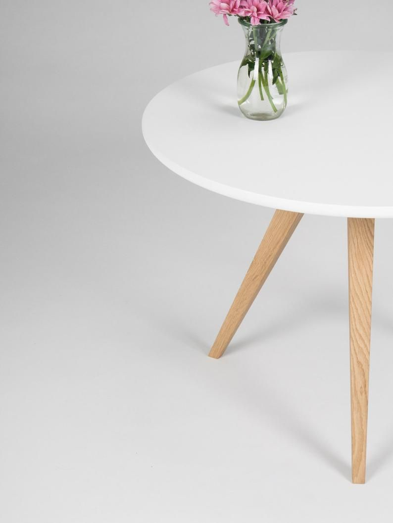 White Round Coffee Table With Solid Oak Legs Scandinavian Etsy White Round Coffee Table Round Coffee Table Coffee Table [ 1058 x 794 Pixel ]