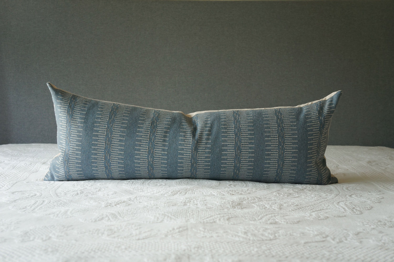 Rustic Blue Woven Long Lumbar Throw Pillow Cover Etsy