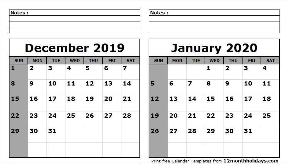 Print December 2020 Calendar Page December 2019 January 2020 Calendar Printable | 2018 Calendar