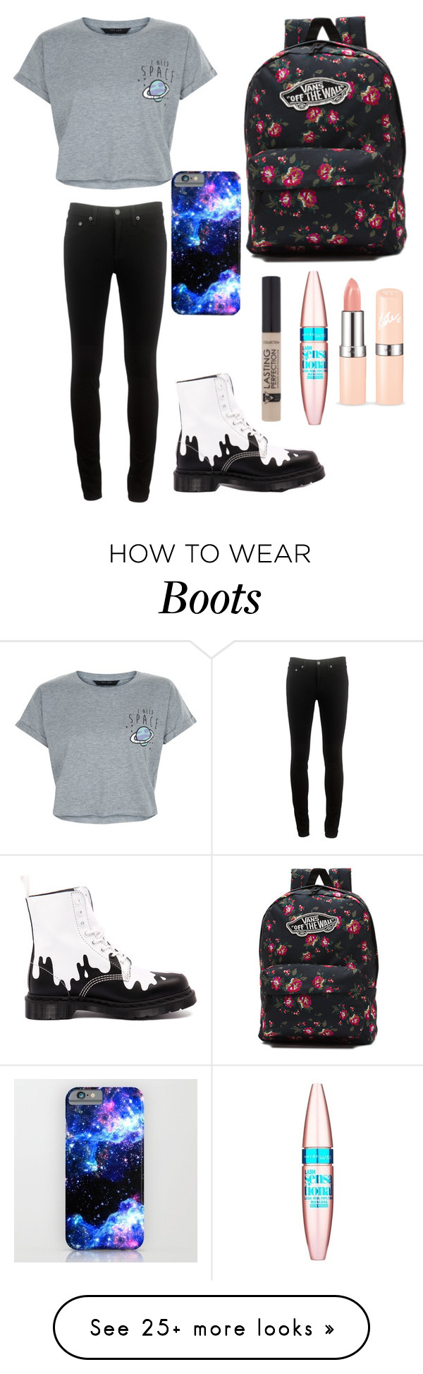 """Untitled #213"" by pandapop263 on Polyvore featuring Vans, rag & bone, New Look, Dr. Martens and Maybelline"