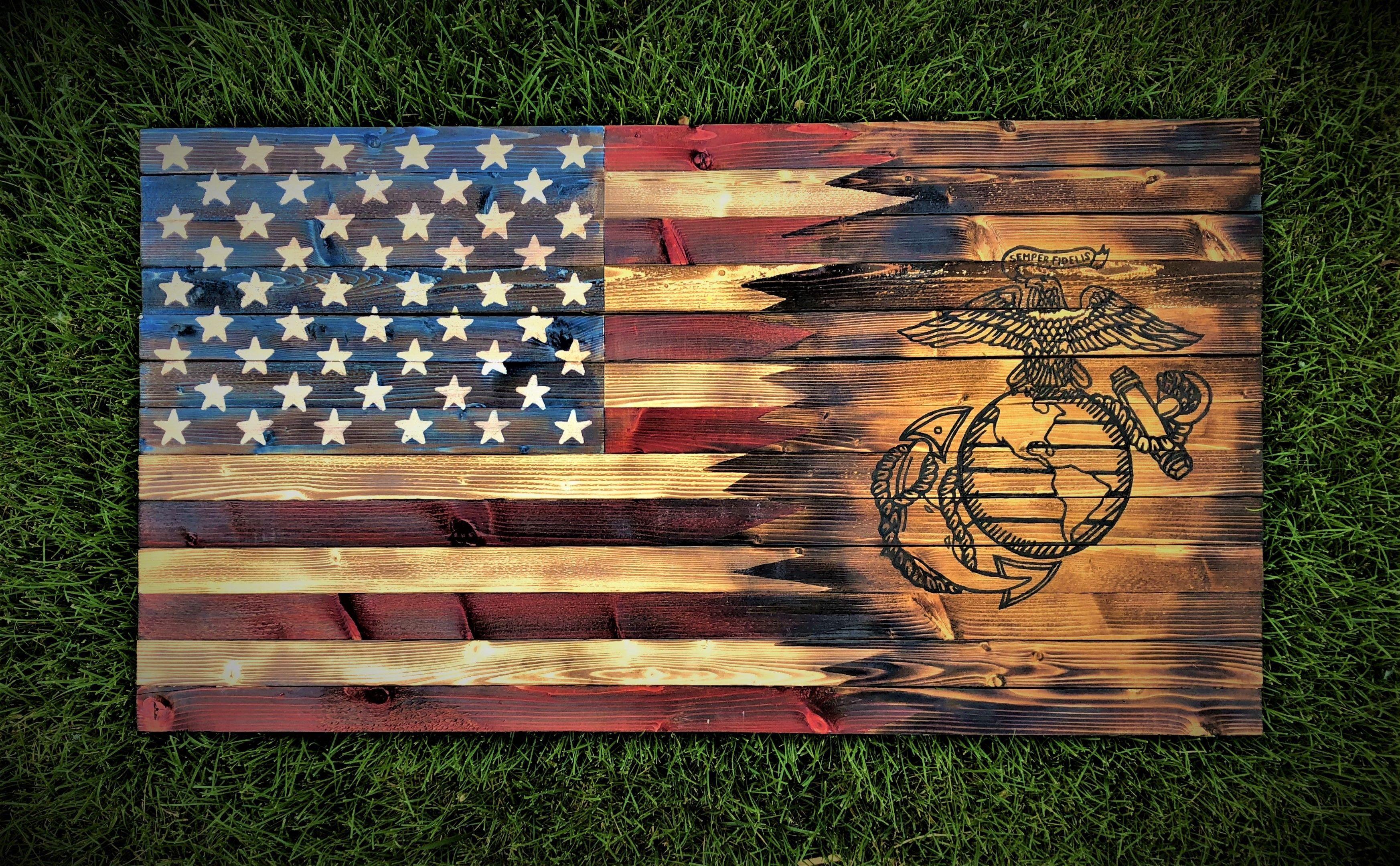 Rustic Charred American Marine Flag Rustic American Flag American Flag Wood Wooden Flag