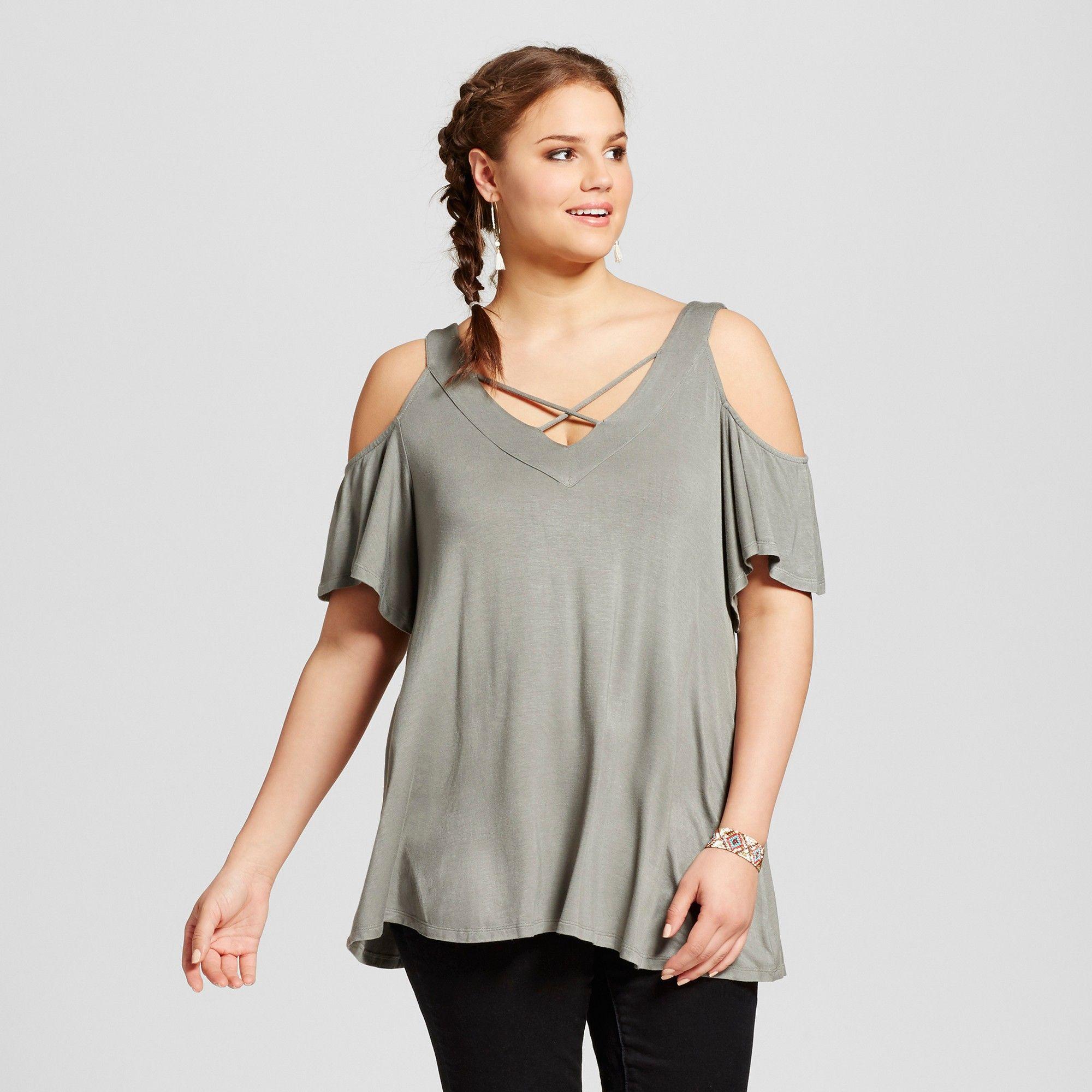 Womenus plus size vneck cold shoulder top olive x almost famous