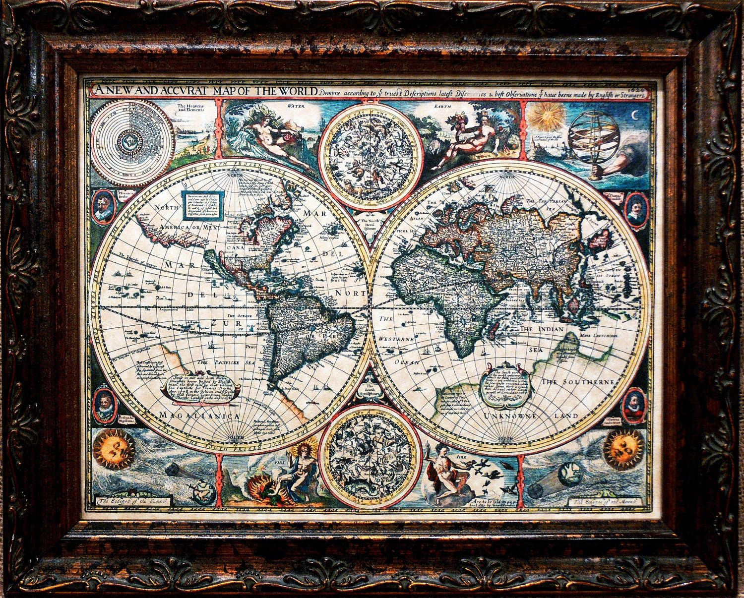 A New And Accvrat Map Of The World 1626.Double Hemisphere World Map Print Of A 1626 Map On Parchment Paper