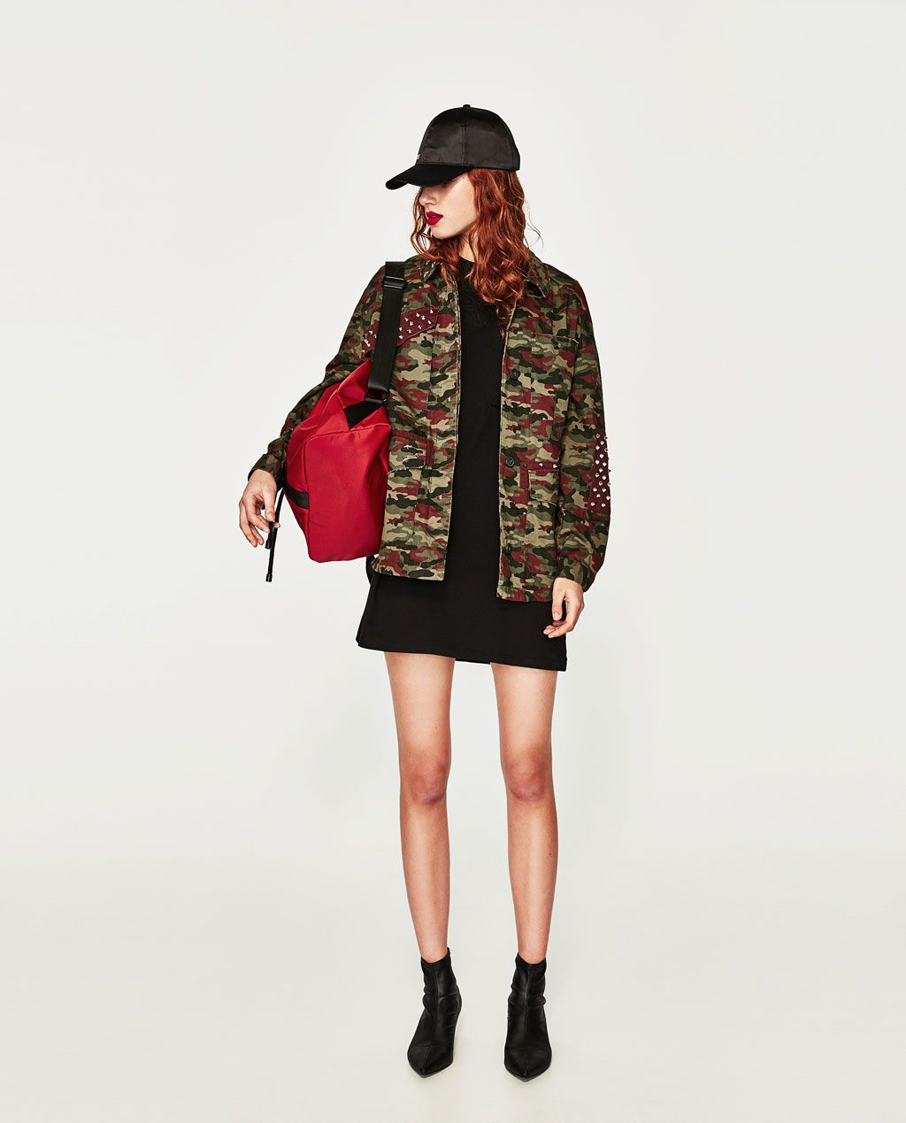 43275958 STUDDED CAMOUFLAGE JACKET | Wish List | Camouflage jacket, Zara ...