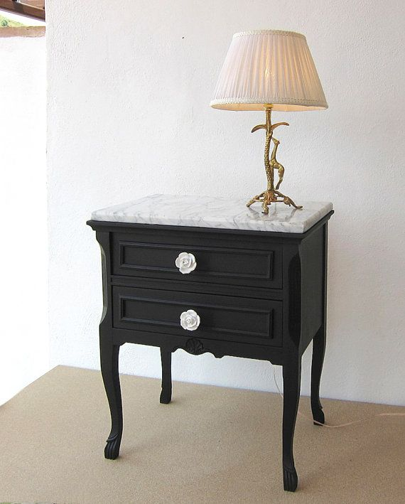 Best Vintage Marble Side Table Restored Black And White 640 x 480