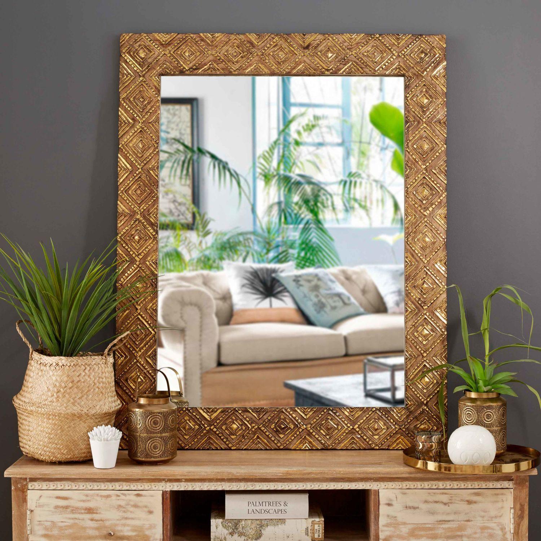Innenarchitektur wohnzimmer lila spiegel mit mangoholzrahmen goldfarben x in   living room