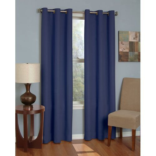 Microfiber Navy 42 Inch X 95 Inch Grommet Blackout Window Curtain Panel In 95 Inch Eclipse Curtains Panel Curtains Curtains