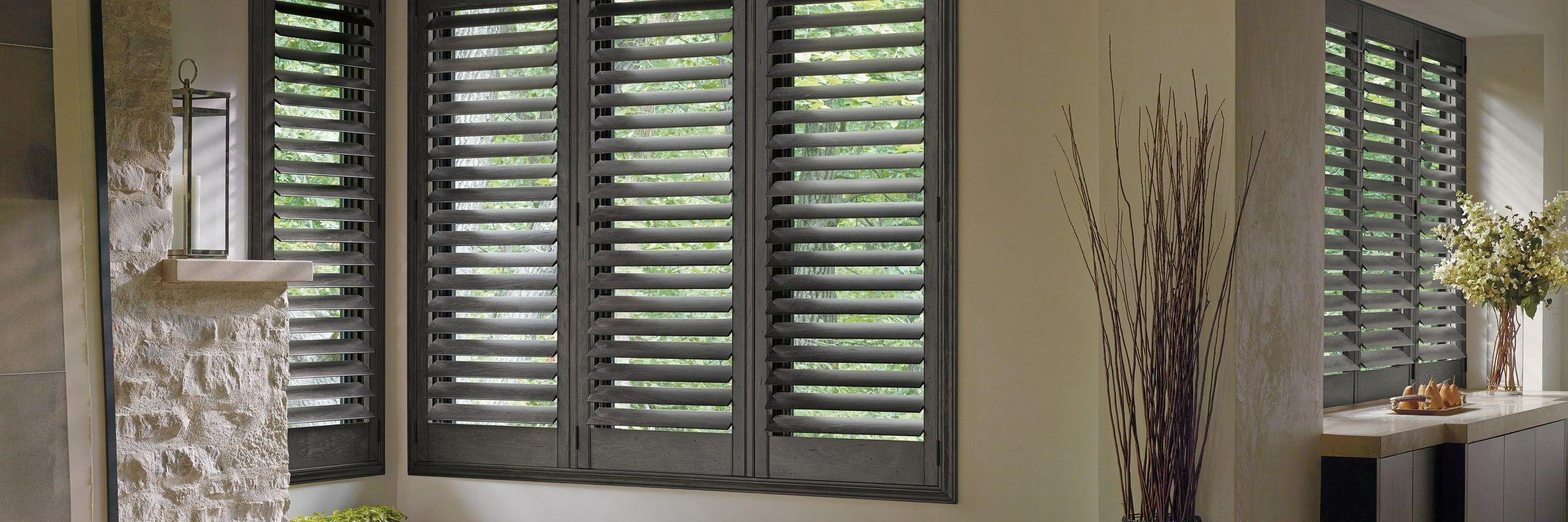 Wood Shutters Hardwood Shutters Heritance Hunter Douglas Custom Blinds Wood Shutters Window Treatments