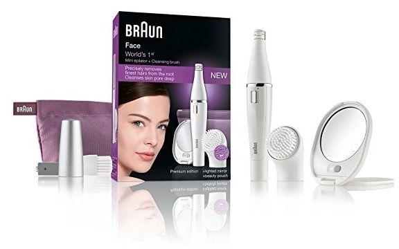 ¡Chollo! Depiladora facial Braun Face 830 con cepillo de limpieza edición especial con un neceser por 22.13 euros.