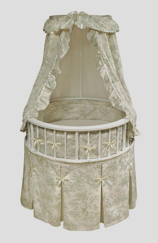 Modern Round Baby Cribs Toile bedding, Baby nursery