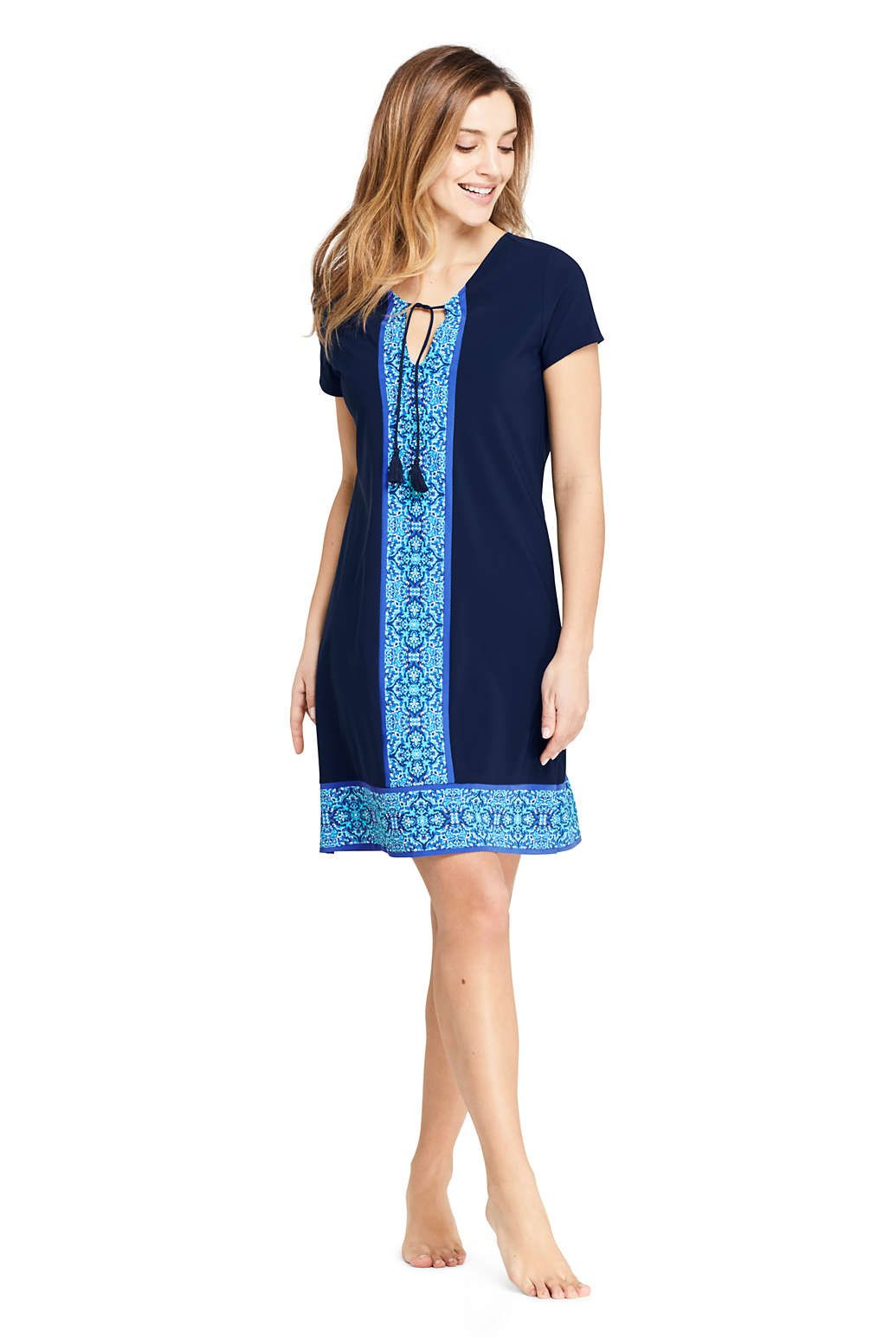 01cb3e5d5e99a Women s Swim Cover-up Notch Neck Dress with UV Protection Print from Lands   End