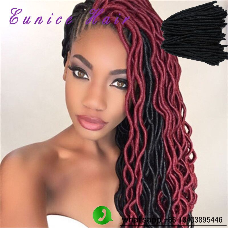 Red Black Protective Faux Locs For Summer
