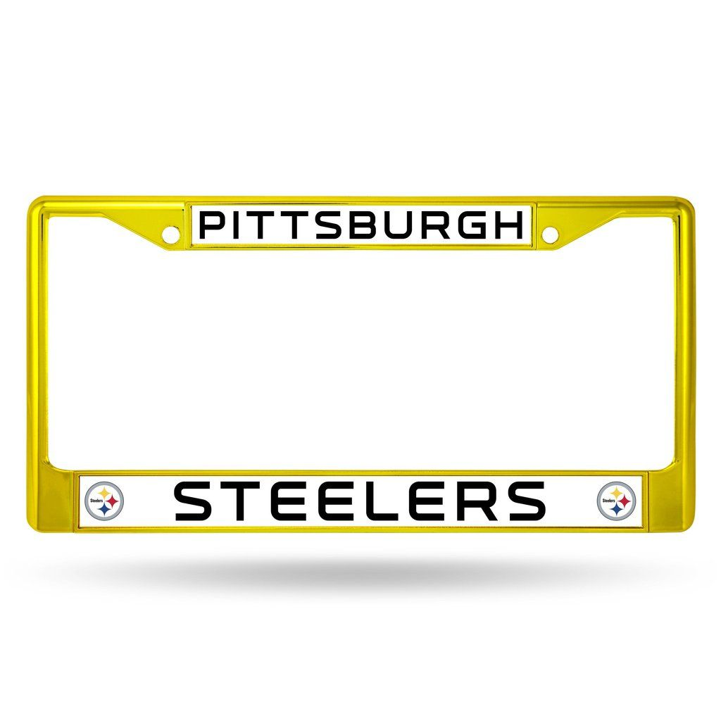 Pittsburgh Steelers License Plate Frame Metal Yellow | Pittsburgh ...