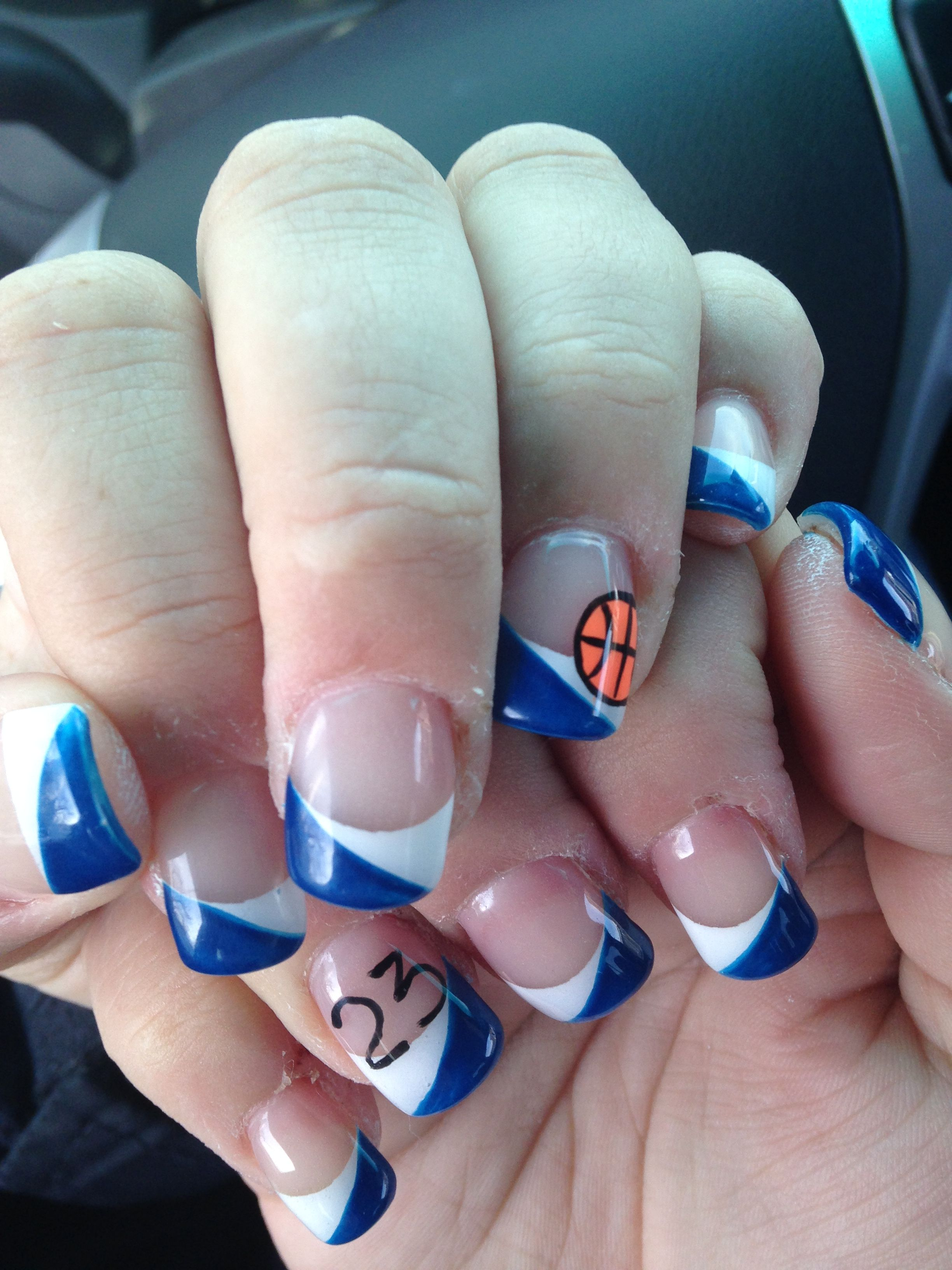 Basketball Nails With Sons Number My Nails Pinterest