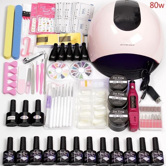 12 Color Gel Nail Polish Varnish Extension Kit With 36w 48w 80w Led U Michelle S Garage In 2020 Gel Nail Kit Acrylic Nail Kit Diy Gel Nails Kit