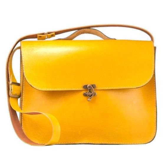 Handmade Laptop Bag Yellow Leather Briefcase Messenger by ammaciyo ...