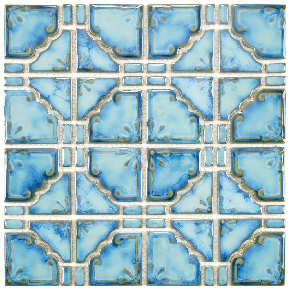 Merola Tile Moonbeam Diva Blue 11-3/4 in. x 11-3/4 in. x 7 mm ...