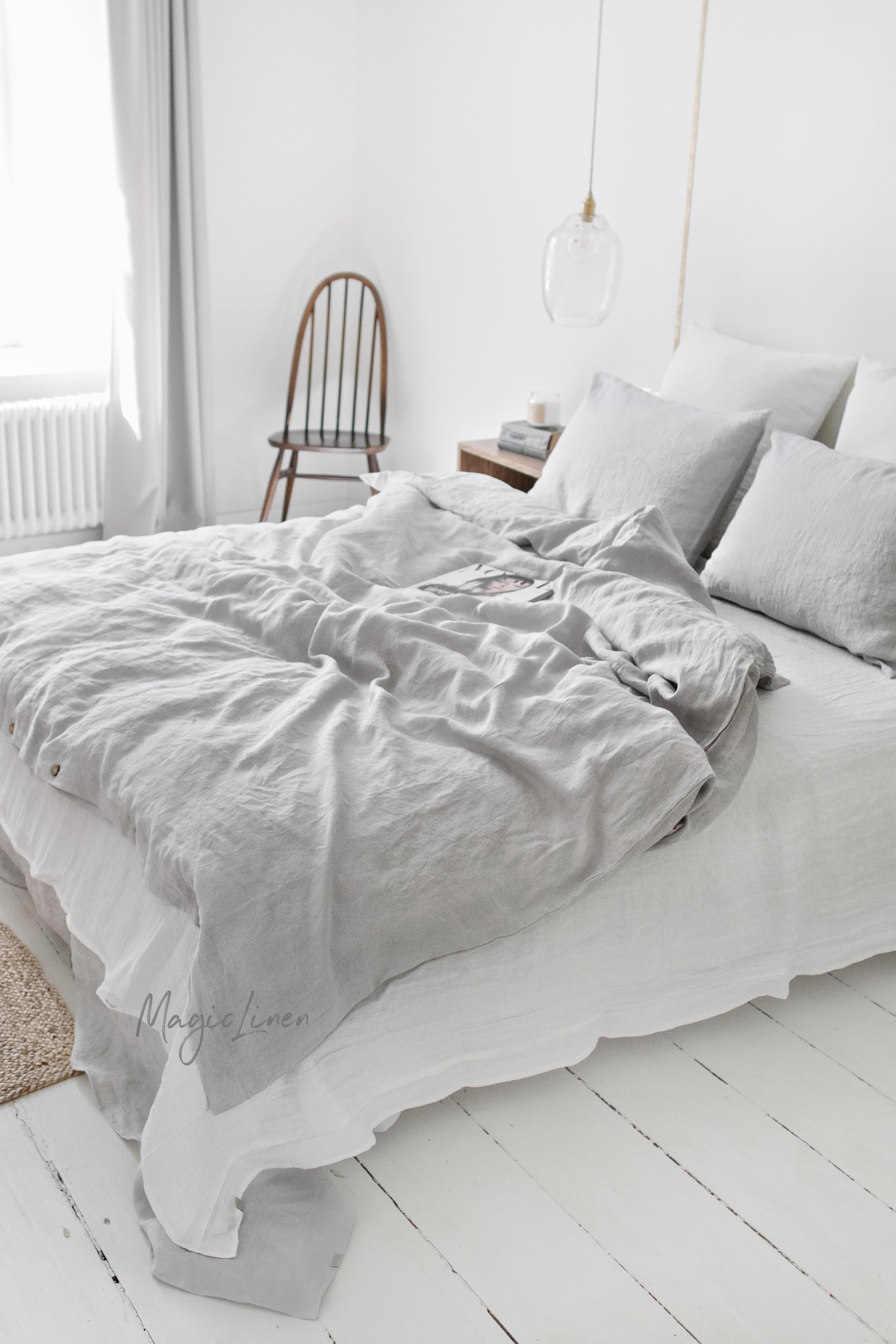 Nothing Gives Your Bedroom Decor A More Elegant Look Than Linen Bedding Stonewashed For Maximum So Linen Duvet Cover Grey Bed Linens Luxury Grey Linen Bedding