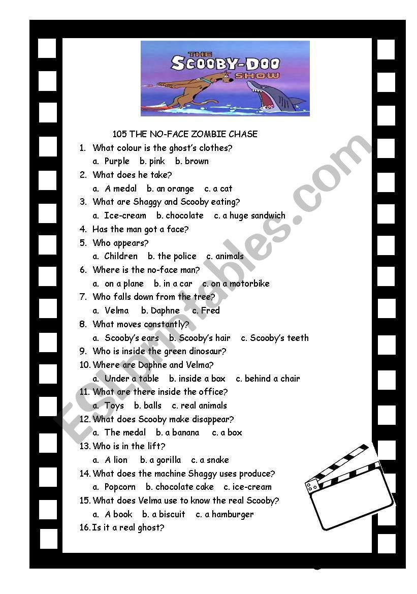 SCOOBY DOO SHOW 105 AND 106 ESL worksheet by ingrid10 in