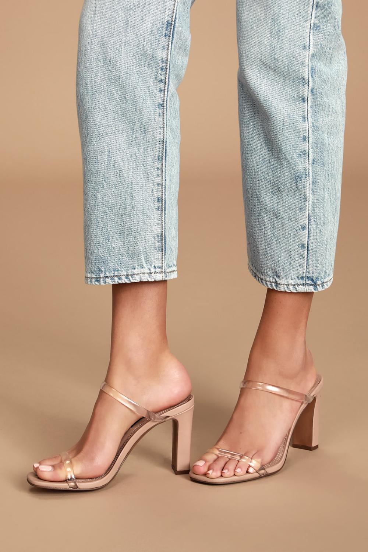 Jersey Blush Multi High Heel Sandals in