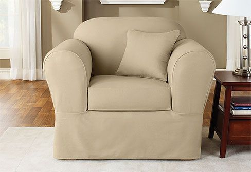 Twill Supreme Separate Seat Slipcover Durable And Stylish Cotton Twill That S Designed To Be F Slipcovers For Chairs Chair Covers Slipcover Armchair Slipcover