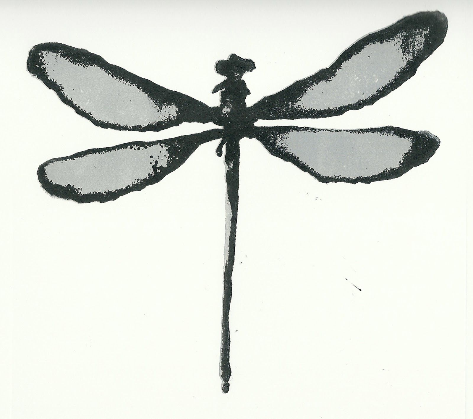 graphic about Dragonfly Template Printable named dragonfly+template+printable dragonfly monoprint 25x25cm