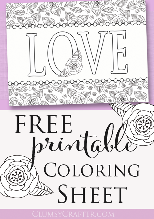 Free Printable Adult Coloring Sheet Love Perfect For Valentines Day