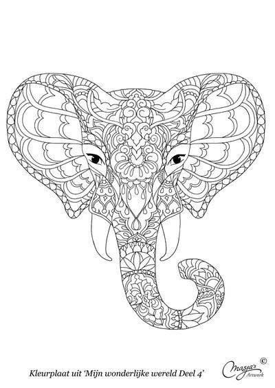 Copyright Masja S Artwork Animal Coloring Pages Coloring Books Elephant Drawing