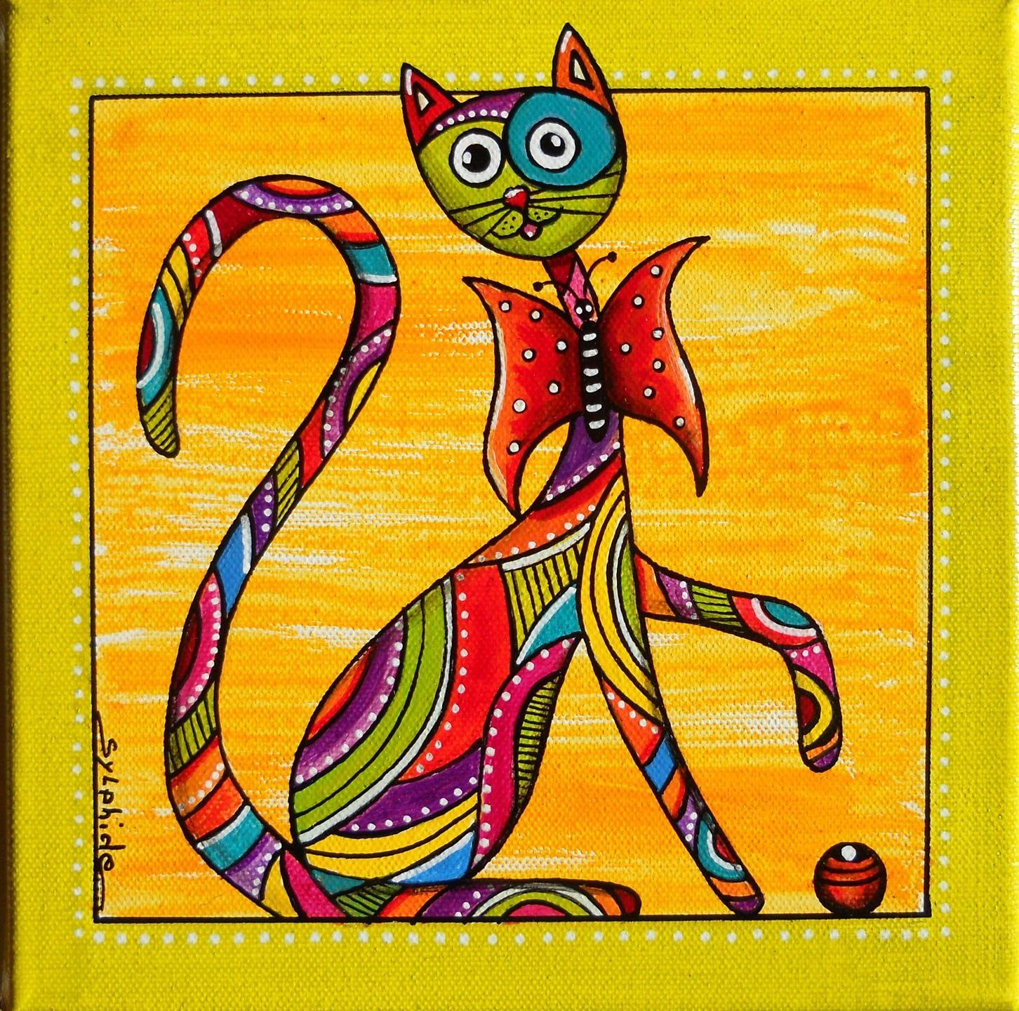 Petit tableau du chat tr s color papillon d corations - Dessin colore ...