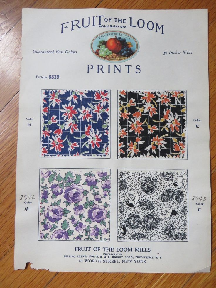 1930s vintage fabricsample catalog of Fruit of the Loom