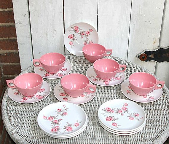 Pink Roses Melamine Dishes Melmac Cups Saucers And Cake Plates Set Of 6 Plastic