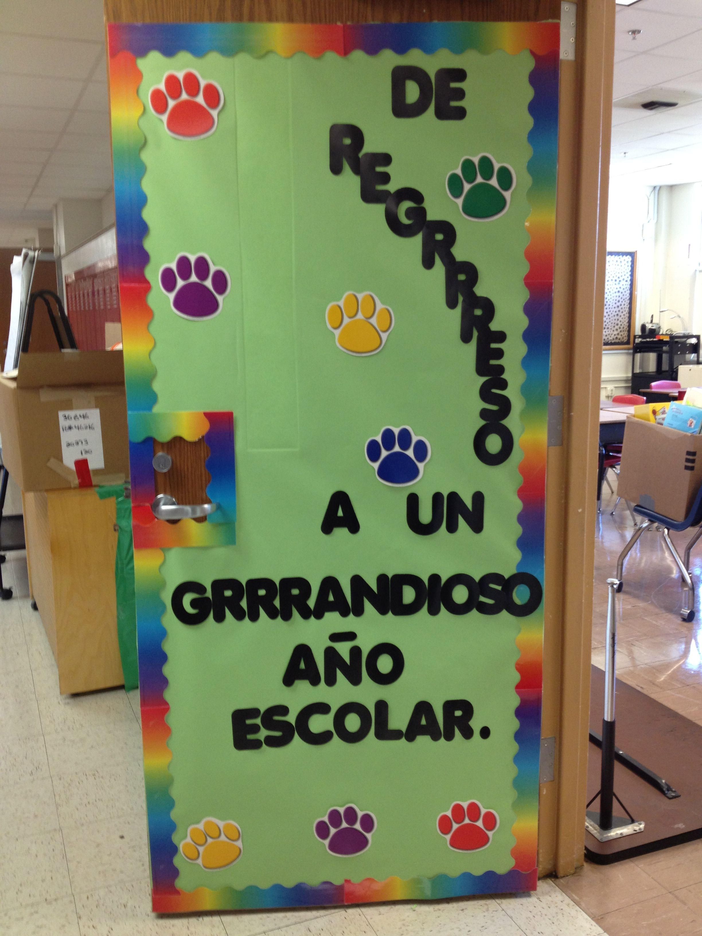 Door decorations for spanish class - Paw Print Classroom Door Decoration