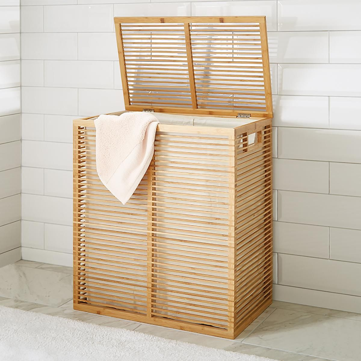 Zen Divided Bamboo Hamper Laundry Hamper Vintage Laundry Room Vintage Laundry Room Decor