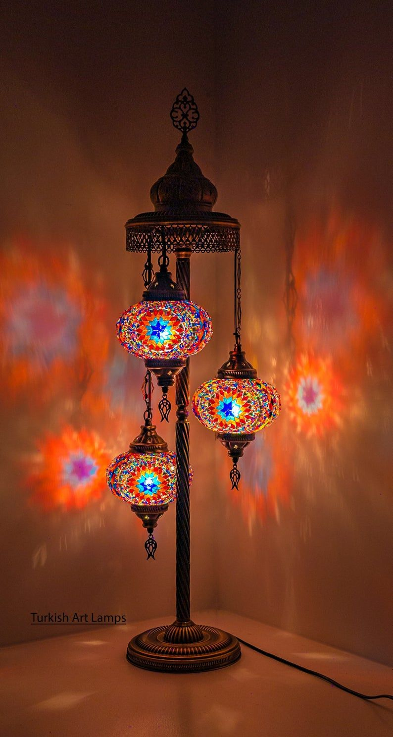 Floor Lamp Turkish Lamp Moroccan Stand Night Light 3 Big Etsy In 2020 Turkish Lamps Moroccan Decor Lamp