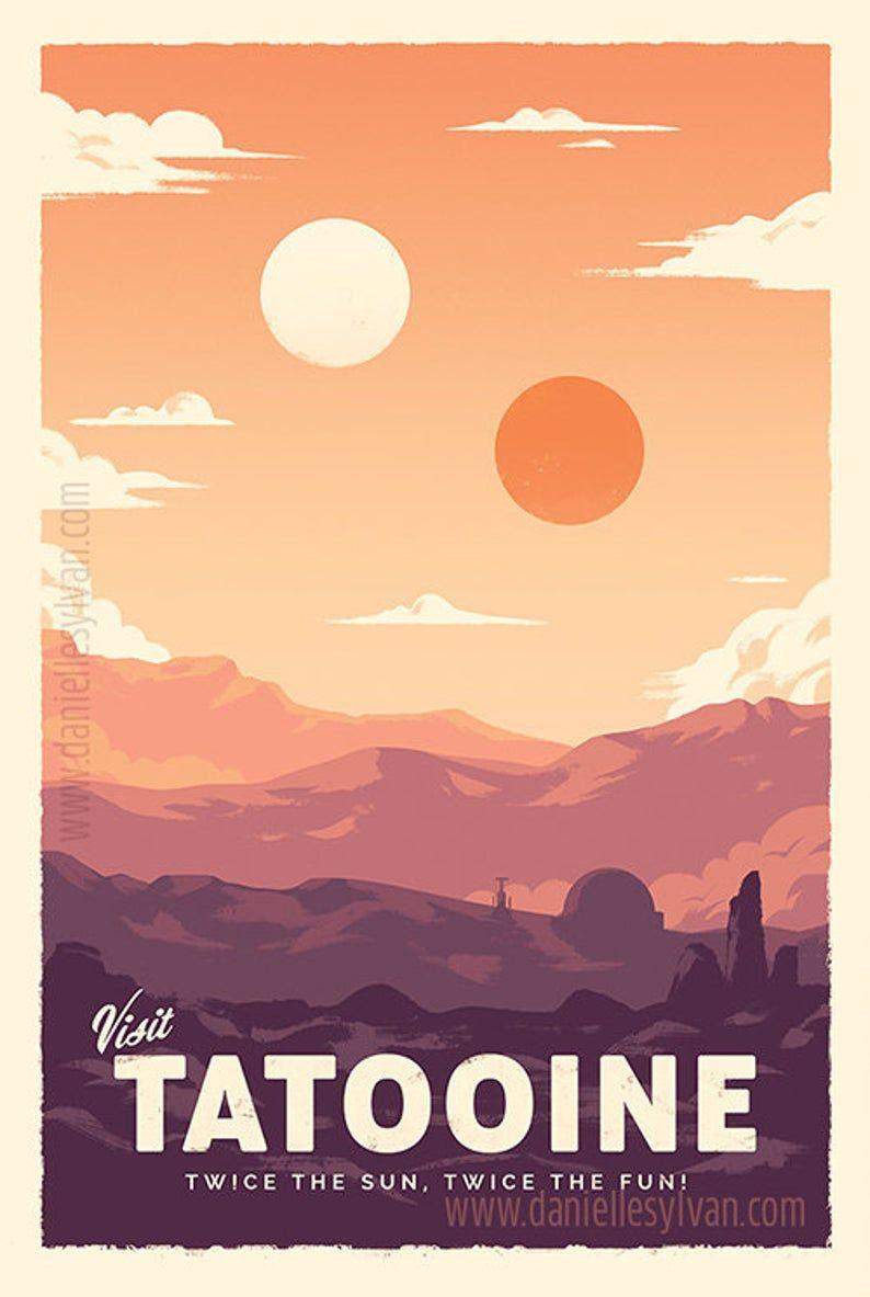 Affiches de voyage rétro star Wars Ensemble de 3 Poster | Etsy