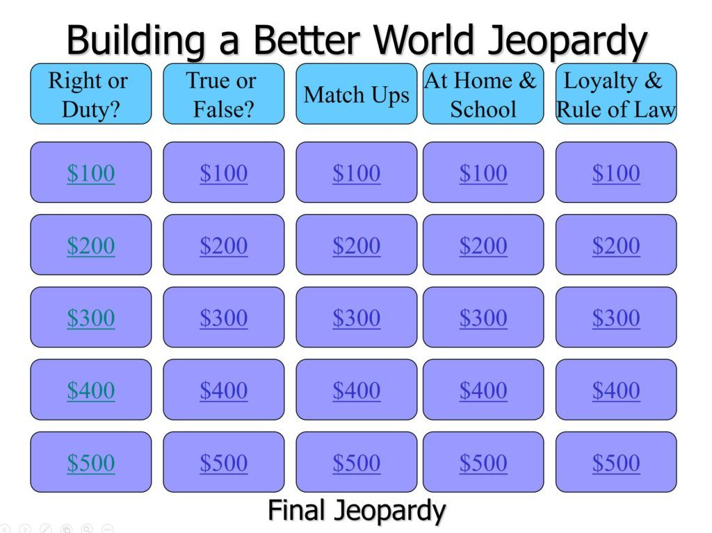 Jeopardy Game For Building A Better World Adventure  Cub Scout