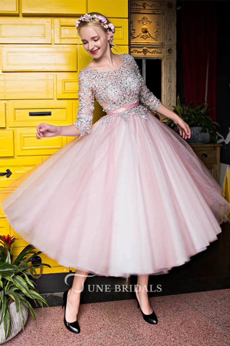 Photo of 3-4 Lace Sleeve Scoop Neck Tea Length Tulle Dress
