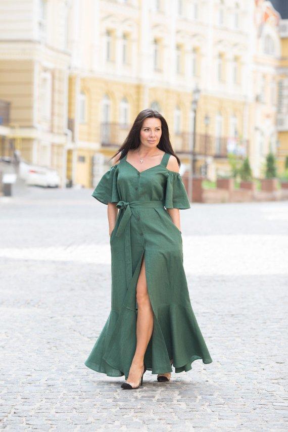 Off shoulder dress,Green Linen Dress,Fit and Flare dress ...