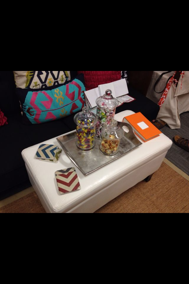 Dorm Room At MSU Coffee Table Ottoman With Candy Jars