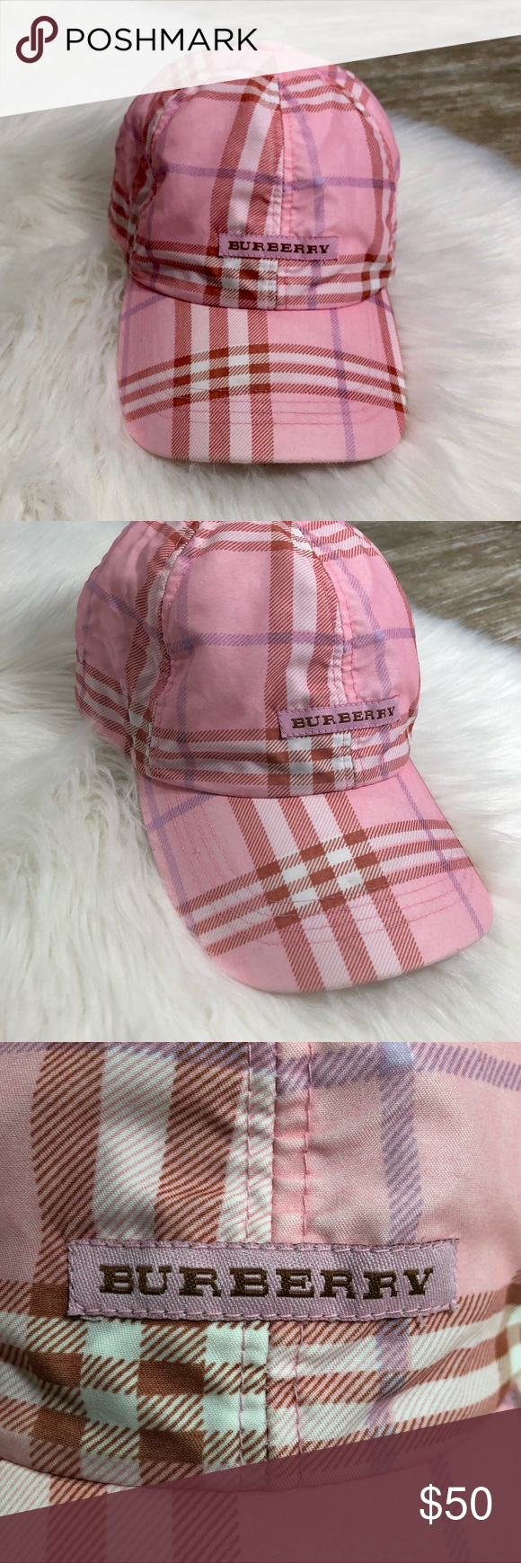 Burberry Girls Pink Plaid Hat Cap One Size Burberry Kids Girls Pink Plaid Hat  Pink with purple and dark orange plaid. One size Measurements  Across brim  ... 81c3cb44355