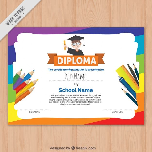 Download Colorful Children's Diploma Template For Free