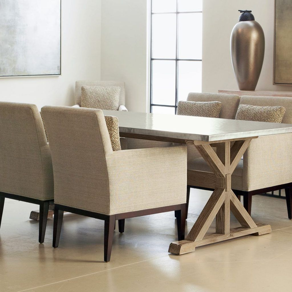 Furniture Elegant Beige Dining Table Columbus Ohio Design With Comfy Upholstered Fabric Chair And Cross Trestle