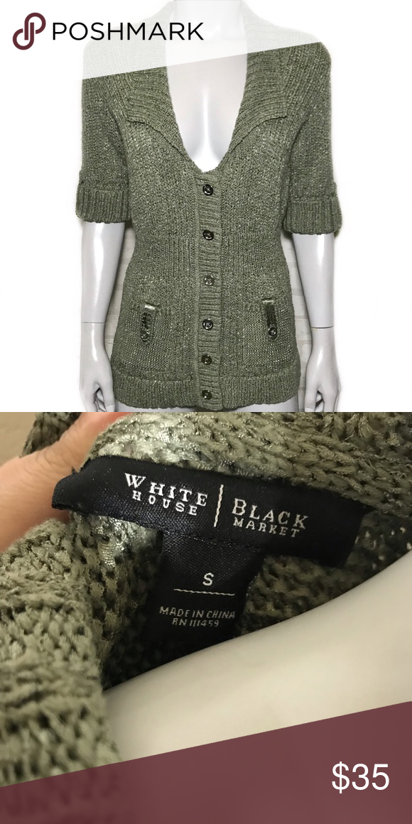 2b507728958a37 {white house black market} sage green cardigan Chunky knit sweater is a  lovely green color. Silver colored buttons down the middle. Two pockets in  front.